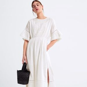 ZARA Off-White Embroidered Midi Dress with Ruffles